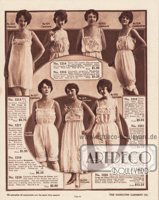 Damenunterwäsche. Untertaillen, Unterhemden, eine einteilige Hemd-Höschen-Kombination, ein Petticoat sowie Schlupfhöschen für Frauen. Die gezeigte Damenunterwäsche besteht aus Seiden-Crêpe de Chine oder Waschsatin und wird mit Georgette- oder mit Spitzeneinsätzen angereichert. Kleine Rüschen, zierliche Schleifchen, feine Stickereien (z. B. Rosenknospen) und Hohlnähte werten die Modelle auf.