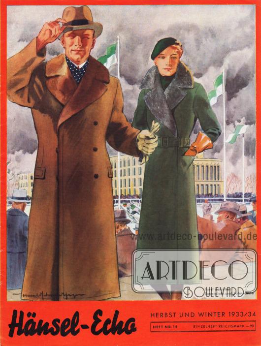 Titelseite der Herbst/Winter Ausgabe des Firmenmagazins Hänsel-Echo Nr. 14 von 1933.Zeichnung: Harald Schwerdtfeger.