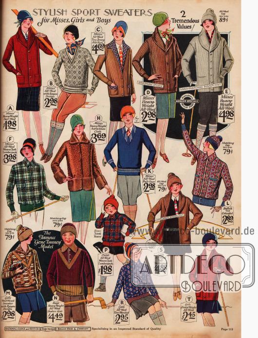 Sportbekleidung für Jungen und Mädchen bestehend aus Strickpullovern und Pullovern, sowie Strickmützen. Modell F ist eine Holzfällerjacke aus reiner Wolle für Mädchen. Fast ausschließlich Wolle findet für die Kleidung Verwendung, aber auch Rayonmischungen werden verarbeitet.