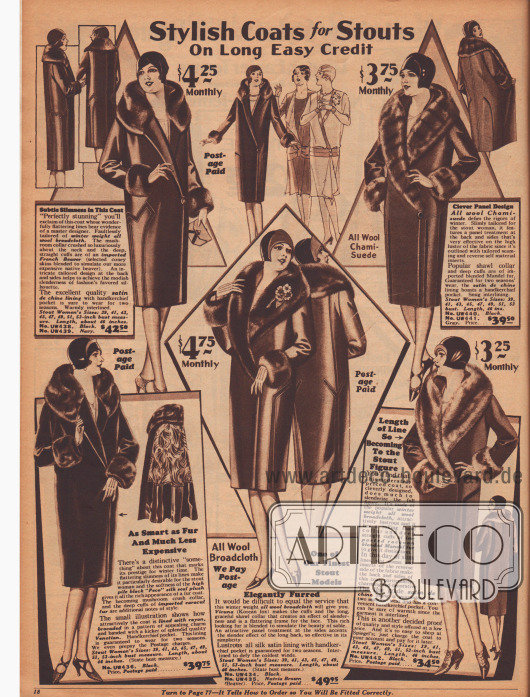 Weitere fünf Mäntel für Damen mit fülliger Figur aus reinen Wollstoffen mit Verbrämungen aus Kaninchenpelz.