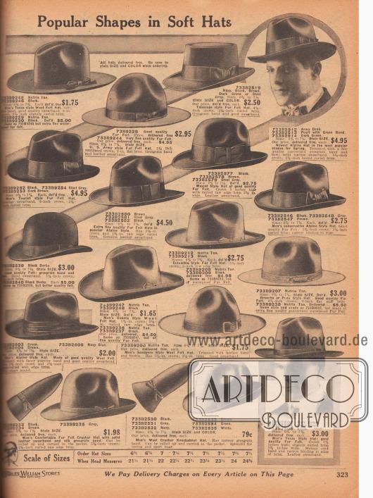 """""""Beliebte Formen für weiche Hüte"""" (engl. """"Popular Shapes in Soft Hats""""). Filzhüte mit Schweißbändern in der Innenseite und mit schmalen oder breiten Ripsbändern und Schleife außen für Herren. Unter den Hutmodellen sind Männerhüte im Texas Stil, Sombrero Stil, Teleskop, Mascot Stil, im Alpinen Stil, Touristen Stil, Kolumbianischen Stil oder im Dakota Stil sowie eine Melone (engl. """"Bowler""""). Unten auf der Seite befinden sich leichte Wollfilzhüte die eingerollt werden können."""