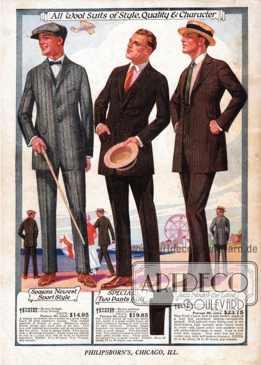 """Drei Anzüge für Männer aus Woll-Kaschmir. Der Anzug links ist im sportlichen Stil gehalten und zeigt drei große aufgenähte Taschen. Das Modell rechts außen wird als """"Jazz Model"""" beworben. Charakteristisch für dieses Modell ist die besonders hohe und enge Taillierung, der kantige Schoß des Sakkos und die eng beieinander liegenden drei Knöpfe an der Taille, die für gewöhnlich weiter auseinander liegen, wie bei den anderen Modellen."""