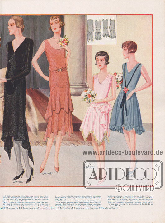 Doppelseite mit eleganten Kleidern für eine Hochzeit. Das kanariengelbe Brautjungfernkleidchen aus Georgette zeigt einen Stufenrock, der sich rückwärtig stark verlängert. Daneben sind ein brauner Festanzug aus Samt für Knaben von 4 bis 8 Jahre mit einer weißen Garnitur und ein Festkleidchen aus stahlblauer Georgette für Mädchen von 2 bis 6 Jahren zu sehen. Milchweißes Crêpe-Satin bildet den Ausgangsstoff für das Brautkleid, während das Kleid aus schwarzem Crêpe Satin mit seitlichen Zipfeln für die Brautmutter gedacht ist. Roséfarbenes Moiré dient als Stoff für das nächste Kleid dessen Raffung mit einer Perlschnalle garniert wird. Zwei Festkleidchen aus rosa Crêpe de Chine und stahlblauem Georgette für Mädchen von 12 bis 16 Jahren beenden die Zusammenstellung.