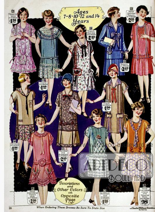 Kleidchen für 7 bis 14-jährige Mädchen, die in Stil und Machart den Kleidern für erwachsene Frauen nachempfunden sind. Die Kleider sind aus Charmeuse, Schleierstoff, Batist, Rayon, Juteleinen, Leinen, Breitgewebe und Gingham. Manche Kleidchen sind teilweise per Hand bestickt (J, L) oder weisen eine Fältchennäherei auf (E). Die Stoffe sind größtenteils bedruckt.