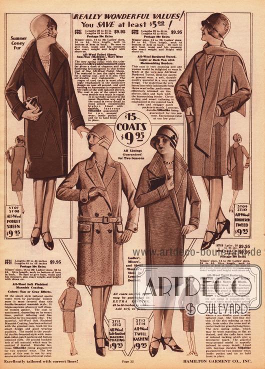 Kleidsame Damenmäntel für das Frühjahr aus Woll-Poiret Gewebe, Wollmischgewebe und Woll-Kasha zum Einzelpreis von 9,95 Dollar. Der Mantelkragen des Modells links oben ist mit leichtem Kaninchenpelz besetzt. Die Mäntel sind mit Biesen in der Frontpartie, im Rücken, an den Ärmelaufschlägen oder an den Kragen verziert. Der Mantel oben rechts zeigt einen Schal aus dem Mantelmaterial, wie es gerade en vogue ist. Der Mantel unten links ist ein doppelreihiger Sportmantel mit Gürtel und aufgesetzten Taschen.