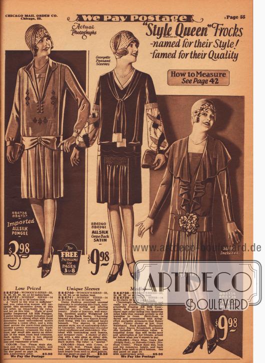 Kleidsame Tages- und Nachmittagskleider aus importiertem Seiden-Pongee, Seiden-Satin und Seiden-Georgette für Damen. Das erste Kleid zeigt einen relativ tiefen Ausschnitt, der mit einem Westeneinsatz ausgefüllt ist. Stickereien und Hohlnähte umrahmen den V-förmigen Kragenausschnitt. Der Rock zeigt Kellerfalten. Das mittlere Kleid präsentiert eine Bandgarnitur von den Schultern ausgehend, die vorne gebunden sind. Die Bauernärmel sind aus hellem Georgette und mit zweifarbigen Applikationen aus Samt bestickt und über eine Reihenziehung mit dem Kleid vernäht. Bogig ausgeschnittenes Oberteil und Rock mit Einsatz und Reihenziehung. Der weite Capekragen des dritten Kleides fällt vorne beidseitig wie ein Jabot wasserfallartig bis zur Hüfte, wo künstliche Blüten das Gürtelband zieren. Der Rock fällt Falten werfend und präsentiert vorne eine Reihe mit dünnen Bändern, die bis zum Saum reichen.