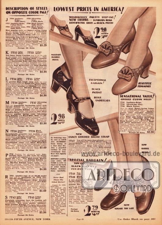 Ein Pump- und zwei Schnallenschuhpaare aus Lackleder oder Kalbsleder. Die recht günstigen Schuhe zeigen Ausstanzungen, Perforationen und Schleifchen sowie niedrige Militärabsätze oder etwas höhere Kubanische Absätze.