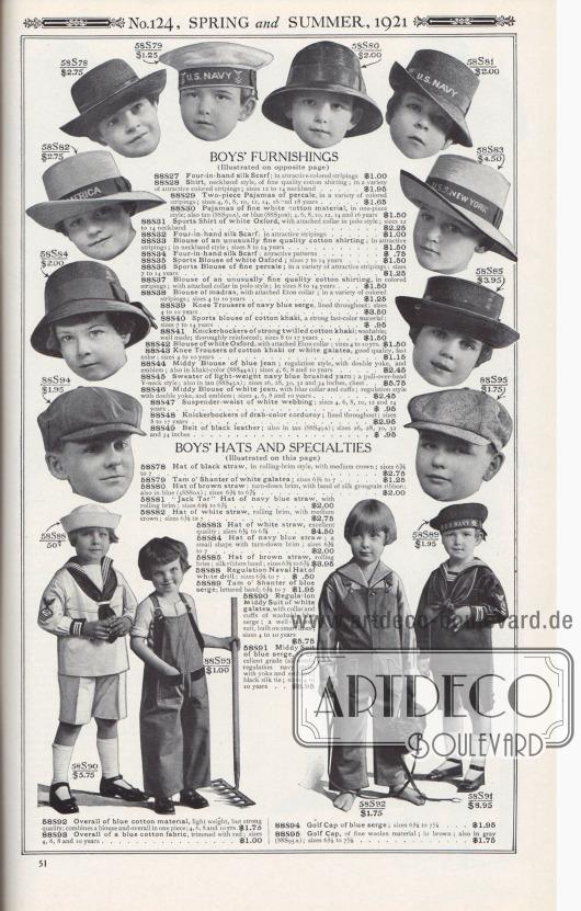 """Nr. 124, FRÜHLING und SOMMER, 1921.  JUNGENHÜTE UND SONDER-AUSSTATTUNGEN. (Illustriert auf dieser Seite)  58S78: Hut aus schwarzem Stroh, im Stil einer Rollkrempe, mit mittlerer Krone; Größen 6⅜ bis 7… 2,75 $. 58S79: Schottenmütze aus weißem Galatea; Größen 6⅜ bis 7… 1,25 $. 58S80: Hut aus braunem Stroh; umgeschlagene Krempe, mit Band aus seidenem Ripsband; auch in Blau (58S80A); Größen 6⅜ bis 6⅞… 2,00 $. 58S81: """"Jack Tar"""" bzw. Seemanns-Hut aus marineblauem Stroh, mit gerollter Krempe; Größen 6⅜ bis 6⅞… 2,00 $. 58S82: Hut aus weißem Stroh, gerollte Krempe, mit mittlerer Krone; Größen 6⅜ bis 7… 2,75 $. 58S83: Hut aus weißem Stroh, ausgezeichnete Qualität; Größen 6½ bis 6⅞… 4,50 $. 58S84: Hut aus marineblauem Stroh; eine kleine Form mit umgeschlagener Krempe; Größen 6⅜ bis 7… 2,00 $. 58S85: Hut aus braunem Stroh, gerollte Krempe; Seidenband; Größen 6⅜ bis 6⅞… 3,95 $. 58S88: Vorschriftsmäßiger Marinehut aus weißem Drillich; Größen 6⅜ bis 7… 0,50 $. 58S89: Schottenmütze aus blauem Serge; beschriftetes Band; 6⅜ bis 7… 1,95 $. 58S90: Standard-Matrosenanzug aus weißem Galatea, mit Kragen und Manschetten aus waschbarem blauem Serge; ein gut geschnittener Anzug, der auf eleganten Linien aufgebaut ist; Größen 4 bis 10 Jahre… 5,75 $. 58S91: Matrosenanzug aus blauem Serge, von ausgezeichneter Qualität (reine Wolle); vorschriftsmäßiger Marinestil, mit Passe und Emblem; schwarze Seidenkrawatte; Größen 4 bis 10 Jahre… 8,95 $. 58S92: Overall aus blauem Baumwollstoff, leichtes Gewicht, aber starke Qualität; kombiniert Bluse und Overall in einem Stück; 4, 6, 8 und 10 Jahre… 1,75 $. 88S93: Overall aus blauem Baumwollstoff, rot eingefasst; Größen 4, 6, 8 und 10 Jahre… 1,00 $. 88S94: Golfmütze aus blauem Serge; Größen 6⅝ bis 7⅛… 1,95 $. 88S95: Golfmütze, aus feinem Wollstoff; in braun; auch in grau (88S95A); Größen 6⅝ bis 7⅛… 1,75 $.  [Seite] 51"""