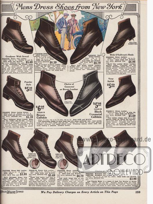 """""""Anzugschuhe aus New York für den Herrn"""" (engl. """"Mens Dress Shoes from New York""""). Feine, hochpreisige Anzugstiefeletten oder Kurzstiefel mit abgerundeten oder vor allem spitzen Kappen. Die Sohlen sind größtenteils aus mittelweichem Gummi, die Schuhe selbst sind aus verschiedenen Kalbsledersorten in den Farben Dunkelbraun oder Schwarz. Unter den Modellen sind Derbys (offene Schnürung und Derbyschaftschnitt) und Oxfords (mit geschlossener Schnürung). Zwei Schuhpaare werden über Knöpfe geschlossen. Abgesehen von den Lochlinienverzierungen (Perforationen) sind die Schuhe sehr glatt gearbeitet. Alle Modelle sind überdies Goodyear welted (Rahmenvernäht → Qualitätsmerkmal)."""