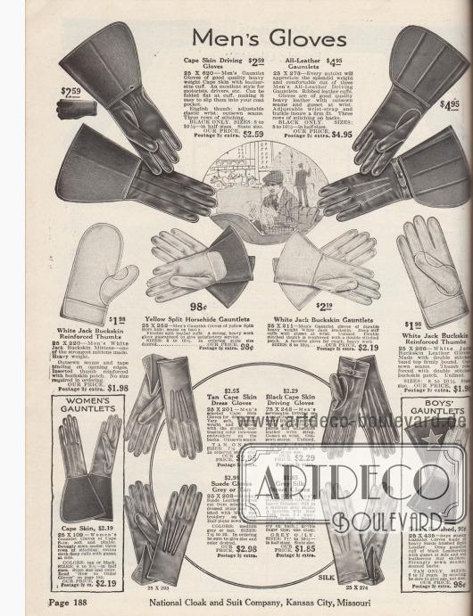 """""""Handschuhe für Männer"""" (engl. """"Men's Gloves""""). Etwas derbere Herrenhandschuhe oben für Autofahrten (Motoristen) sowie feinere Handschuhe zur Komplettierung des eleganten Straßenanzugs unten. Die Handschuhe (hier vor allem Fingerhandschuhe sowie ein Fausthandschuh) sind aus """"Cape Skin"""" (Ziegenleder aus Südafrika), Wild- bzw. Hirschleder, Pferdeleder, Rauleder oder """"Milanese Silk"""" (dt. Mailänder Seide). Einzelne Modelle besitzen verstärkte Daumen. Zum Verschluss dienen Druckknöpfe oder Riemen. Die Straßenhandschuhe unten zeigen nahtverstärkte Rücken. Unten links befinden sich Damenhandschuhe aus Cape Skin und unten rechts ein Paar Handschuhe für Jungen aus zweifarbigem Leder."""