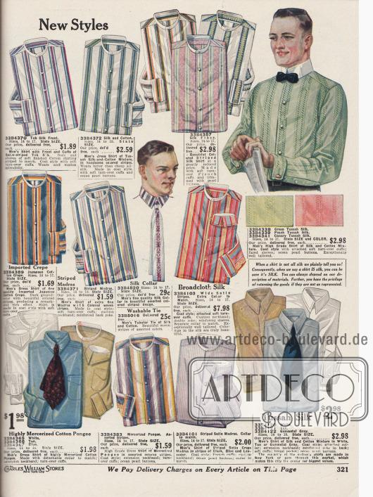 Anzughemden für Herren. Die Hemden sind aus farbig gestreiften oder einfarbigen Stoffen wie Rohseide, Seide, Tussah-Seiden-Baumwolle, importiertem japanischem Krepp, extra feinem Madras, Seiden-Breitgewebe, hochglänzendem, merzerisiertem Baumwoll-Pongee, merzerisiertem Pongee, Satin-Krepp-Madras oder Tussah Seide gearbeitet. Die Hemdmodelle sind entweder mit oder ohne Kragen. Diese konnten von Seite 310 geordert werden. Im Zentrum der Seite ein Kragen mit passender Krawatte.
