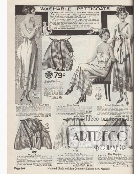 """""""Waschbare Petticoats"""" (engl. """"Washable Petticoats""""). Leicht waschbare Unterröcke aus den nicht typischen Lingerie-Stoffen für Tages-, Nachmittags- und Abendkleidung. Die Petticoats sind aus Habutai-Seide, Seco-Silk (Seiden-Baumwollstoff), gestreiftem Gingham oder Perkal, Satin und Chambray. Die Volants sind an den Unterröcken dicht angesetzt. Zusätzliche Weite am Saum wird durch Paspeln, Rüschen, Biesen oder durch Einsätze aus plissiertem Stoff erzeugt. Ein Modell mit Stickerei. Elastische Taillenbündchen."""