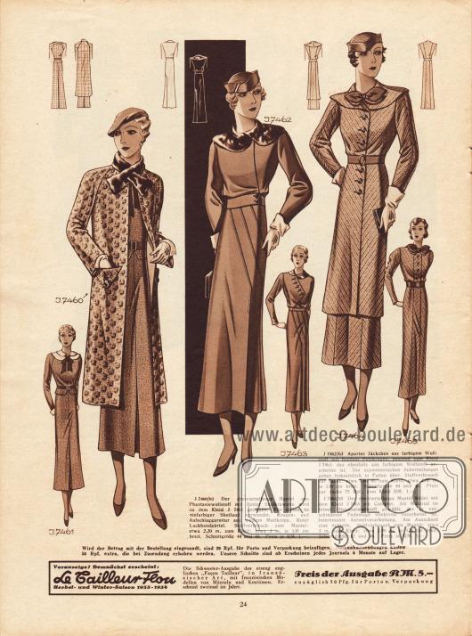 Drei Ensembles.7460/61: Dreiviertellanger Mantel aus Phantasiewollstoff mit Sealkrawatte, der zu einem Kleid aus einfarbigem Shetland getragen wird. Das Kleid zeigt eine zweilagige Aufschlaggarnitur aus weißem Mattkrepp. Zu diesem gehört auch ein Gürtel aus rotem Lackband.7462/63: Jäckchen aus farbigem Wollstoff mit Pelzkragen. Das dazugehörige Kleid aus gleichem Stoff zeichnet sich durch seine asymmetrischen Schnittteilungen aus, die linksseitlich in Falten übergehen.7464/65: Complet aus feinem Diagonalwollstoff, der in verschiedenen Fadenlage verarbeitet worden ist.