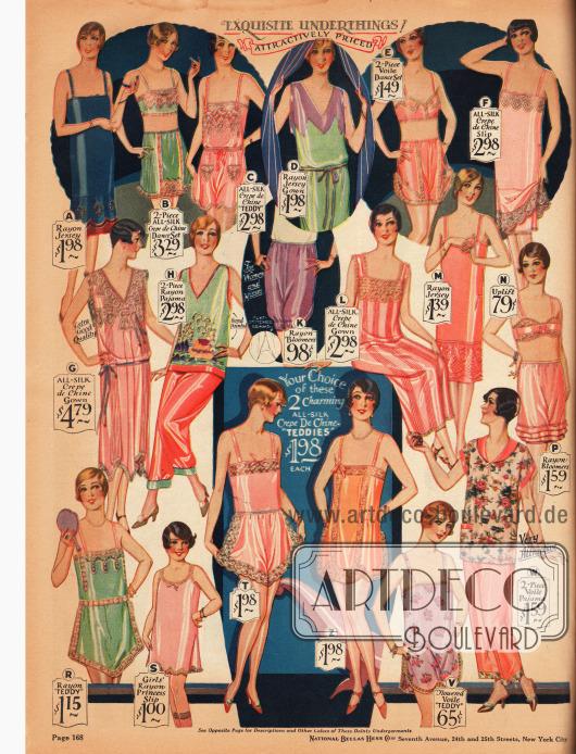 """Damenunterwäsche, Pyjamas (D, H, W) und Schlafröcke (G, L) aus Rayon-Jersey, Seiden Crêpe de Chine, Schleierstoff oder Rayon. Unter der Unterwäsche finden sich Unterröcke (A, F, M), ein Unterrock für Mädchen (S), zweiteilige Bustier-Schlupfhöschen Kombinationen (B, E, N, P), einteilige Hemd-Höschen Kombinationen, die in den USA """"Teddy Bloomers"""" oder """"Step-In Teddy"""" genannt wurden (C, R, T, Z, V) sowie Pumphöschen mit und ohne Rüschen (K, P)."""
