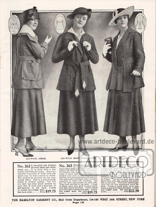 """Damenkostüme der oberen Preiskategorie aus fein kariertem Wollstoff, Woll-Serge und """"Poiret twill"""", einem Wollgewebe, das Gabardine ähnelt. Die Kostümjacke des ersten Modells zeigt einen raffinierten Schnitt sowie fantasievoll eingearbeitete Beuteltaschen. Es ist ein """"semi-Norfolk"""" Modell, da es ähnlich den Norfolk Anzügen für Männer im Rück eingearbeitete Falten für mehr Bewegungsfreiheit besitzt. Die Jacke des zweiten Kostüms ist mit Seiden Peau de Cygne gefüttert. Der Kragen ist abnehmbar. Schwarze Zierknöpfe und umfassende Stickereien geben dem Modell den besonderen Reiz. Augenscheinlichstes Merkmal des letzten Modells sind die bestickten und mit Knöpfen versehenen Stoffstreifen, die von der Brust ausgehen."""