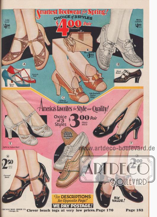 """""""Das schickste Schuhwerk für den Frühling! Auswahl aus 3 Modellen zu je 4,- Dollar je Paar – Amerikas Favoriten für Stil und Qualität! 3 Modelle zur Wahl für je 3,- Dollar das Paar"""" (engl. """"Smartest Footwear for Spring! Choice of 3 Styles $4.00 Pair – America's Favorites for Style and Quality! Choice of 3 Styles $3.00 Pair""""). Damenschuhe. Zwei Schnallenschuhe, ein T-Schnallenschuh, ein Oxford, ein Sport-Oxford, ein sandalenartiger Schnallenschuh und zwei Pumps aus Chevreauleder (Ziegenleder), Kalbsleder, Lackleder oder Chrom-Salz gegerbtem Elchleder gefertigt. Mehrere Modelle wurden mit zwei oder drei farblich abstechenden Ledersorten oder reptilienartig genarbten Ledern kombiniert. Einige Schuhpaare zeigen Ausstanzungen, Perforationen und wurden mit Underlays gearbeitet. Das Pump-Modell C zeigt eine Schuhzunge bzw. -lasche und wird zusammen mit einer farblich passenden Handtasche offeriert. Modelle wahlweise mit mittelhohen Kubanischen Absätzen oder sehr hohen, spitzen Absätzen. Unten mittig ein Paar Sport-Oxfords (G) mit flachen Absätzen, Luftlöchern und Mokassin-Vorderkappe."""