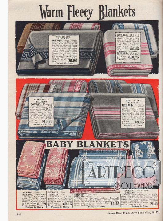 """""""Warme flauschige Decken"""" (engl. """"Warm Fleecy Blankets""""). Gemusterte oder gestreifte Kuscheldecken und Baumwoll-Fleecedecken mit Wollanteilen und Kanteneinfassungen in Rosa oder Blau. Die Größe der Decken beträgt 66 x 80 bis 70 x 80 Inch (also 167,64 x 203,2 cm bzw. 177,8 x 203,2 cm).  """"Säuglingsdecken"""" (engl. """"Baby Blankets""""). Flauschig warme Babydecken aus Baumwoll-Woll-Mischgeweben in Blau oder Rosa für das Gitterbettchen oder den Kinderwagen mit eingewebten Mustern. Die Kanten sind mit Doppelsteppstichen oder Borte eingefasst."""