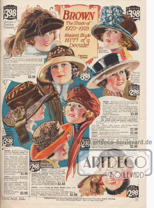 """Damenhüte mit """"off-the-face"""" Effekt (einer Hutkrempe, die aus dem Gesicht gebogen ist) in der aktuellen Modefarbe Braun. Die Hüte sind aus Samt, Seiden-Samt, Crêpe de Chine und Seiden-Plüsch mit Verzierungen aus Seidenstickereien und Federn. Die Hutkrempen sind besetzt mit Bieberpelz und Angorawolle. Ein Turban in der Mitte."""