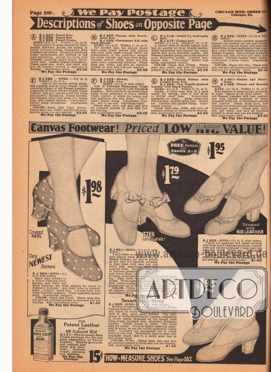 Sommerliche Damenschuhe mit Schnalle und T-Schnalle aus luftdurchlässigem Kanevas. Die dicken, leicht geschweiften, mittelhohen kubanischen Absätze sind entweder mit Kanevas oder Chevreauleder (Ziegenleder) bezogen. Dezente Ausstanzungen oder Schleifchen dekorieren die Schnallenschuhe. Links unten Schuhpolitur (Schuhcreme) für Lederschuhe für 15 Cent. Im oberen Teil der Seite befinden sich die Erklärungen der Schuhmodelle auf der gegenüberliegenden Farbseite 167.