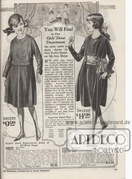 """""""In unserer Abteilung für Mädchenkleider finden Sie die gleichen Stile, die auch in New Yorks schicksten Geschäften auf der 5th Avenue gezeigt werden. WIR bieten Ihnen neuere Modelle und bessere Preise für Mädchenkleider, als Sie sie in jedem anderen Versandhauskatalog finden werden. Sie können sich leicht von der Wahrheit dieser Aussage überzeugen, indem Sie die Stile in diesem Katalog mit denen in anderen Katalogen vergleichen. Ein weiterer Vorteil beim Kauf von Mädchenkleidern von Bellas Hess & Co.: Alle unsere Materialien sind absolut zuverlässig. Sie alle sind garantiert genauso wie beschrieben. Jeder Stoff, der gerade in Mode ist, wird in unserem Katalog angeboten. Wenn Sie bei Bellas Hess & Co. einkaufen ist Ihr Kind garantiert gut gekleidet. Wichtig bei den Größen: Mädchenkleider gibt es in den Größen 8 bis 14 Jahre. Jedes Modell ist für alle Mädchen dieser Altersstufen geeignet. Bestellen Sie einfach gemäß dem Alter. Dies sind die Maße:  Größen – Längen – Brustumfang: 8 Jahre, 30 in (76,2 cm), 28 (71,12 cm); 10 Jahre, 34 in (86,36 cm), 30 (76,2 cm); 12 Jahre, 38 in (96,52 cm), 32 (81,28 cm); 14 Jahre, 42 in (106,68 cm), 34 (86,36 cm)""""  (engl. """"You Will Find in Our Girls' Dress Department the same styles as those shown in New York's Smartest 5th Ave. Shops. WE offer you newer styles and better values in Girls' Dresses than you will find in any other Mail Order Catalogue. You can easily convince yourself of the truth of this statement by comparing the styles in this book with those in other catalogues. Another advantage in buying the little girl's wearing apparel from Bellas Hess & Co. is this: ALL our materials are absolutely reliable. All of them are guaranteed to be exactly as described. Every fabric that is favored by fashion is presented in our Catalogue. Your child cannot fail to be well dressed if you buy from Bellas Hess & Co. Important About Sizes Girls' Dresses come in sizes 8 to 14 years and each style is appropriate for any girl between these ages"""