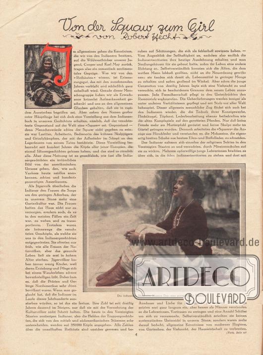 """Artikel:Hecht, Robert, Von der Squaw zum Girl.Auf der Seite werden zwei Fotografien gezeigt. Ein Bild hat die Unterschrift """"Die indianische Studentin Shamon Day, eine preisgekrönte Schönheit"""".Foto: unbekannt/unsigniert."""