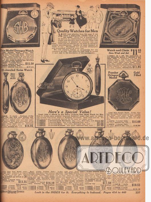 Taschenuhren für Männer. Die kunstvoll gravierten Gehäuse der Taschenuhren für Herren sind rund, oktogonal (achteckig) oder dekagonal (zehneckig) und aus Metall und Echtgold hergestellt und mit Edelsteinen besetzt. Alle Modelle (außer einem) werden ohne Kette angeboten. Einzelne Uhren haben Garantien von 10, 15, 20 oder 25 Jahren.