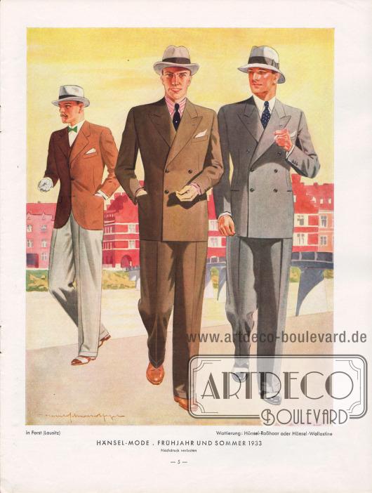 """Herrenanzüge für Frühjahr und Sommer 1933. Die Linie zeichnet sich durch breite Schultern, eine leichte, aber deutliche Taillierung und eine schmale, aber locker geschnittene Hüfte aus. Der Schließknopf soll sich laut """"Hänsel-Echo"""" genau in der Taille befinden. Hier gezeigt werden ein einreihiger Sommeranzug sowie zwei zweireihige mit zwei bzw. drei Knöpfen. Das Hänsel-Echo merkt zum zweireihigen Sommersakko kurz an """"Der Übertritt beim Zweireiher-Sakko und entsprechend seine Knopfstellung sind schmaler geworden."""" Zeichnung: Harald Schwerdtfeger (1888-1956)."""