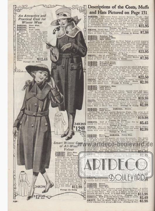 """34K283 /34K284 / 34K285: """"Ein attraktiver und praktischer Mantel als Winterkleidung"""" (engl. """"An Attractive and Practical Coat for Winter Wear""""). Wintermantel aus marineblauem, braunem oder dunkelgrünem Woll-Velours für 8 bis 14-jährige Mädchen zum Preis von 12,48 Dollar. Kragen mit braunem Biber-Webpelz sowie Knopfgarnitur.  34K280 /34K281 / 34K282: """"Pfiffiger Wintermantel aus reinem Wollvelours"""" (engl. """"Smart Winter Coat of All-Wool Velour""""). Mantel für 8 bis 14-jährige Mädchen, bestellbar in den Farben Marineblau, Braun oder Dunkelgrün für 12,98 Dollar. Anpassbarer Kragen mit Velour-Plüsch-Blende. Modell unterhalb der Taille gebauscht."""