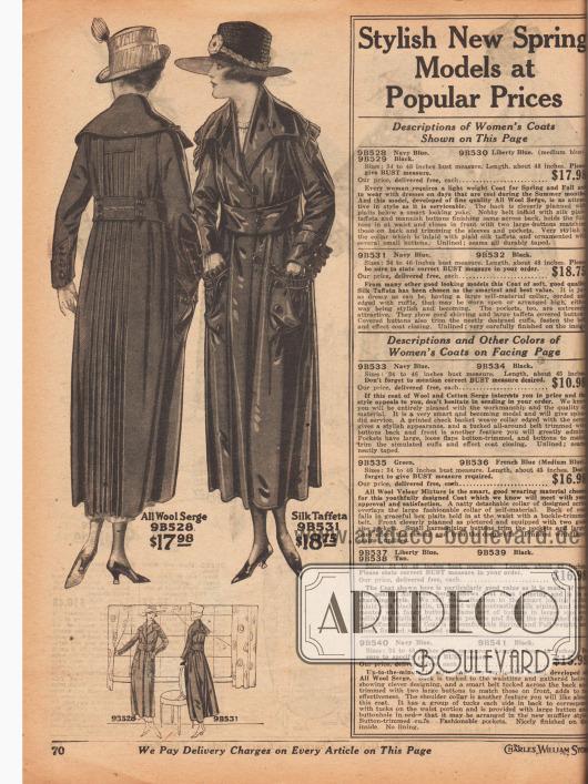 """Zwei Frühjahrsmäntel aus reinem Woll-Serge und Seiden-Taft für mode- und stilbewusste Damen. Die Mäntel sind in Schwarz, Marineblau oder """"Freiheitsblau"""" (engl. """"Liberty Blue"""", Mittelblau) bestellbar. Der erste Mantel zeigt eine plissierte Rückenpartie ausgehend von der Mitte des Rückens bis zum Saum. Der zweite Mantel präsentiert eine Rüsche an der Kante des überbreiten Kragens. Gekräuseltes Material ist auch an den aufgesetzten Taschen und den Manschetten zu finden. Beide Modelle sind ungefüttert und mit dekorativen Zierknöpfen versehen."""
