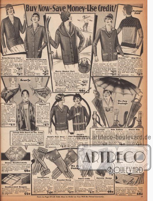 Strickjacken und Pullover für junge Mädchen und Damen aus Wollstoffen sowie Halstücher, Regenschirme, Stofftaschentücher und Handschuhe.