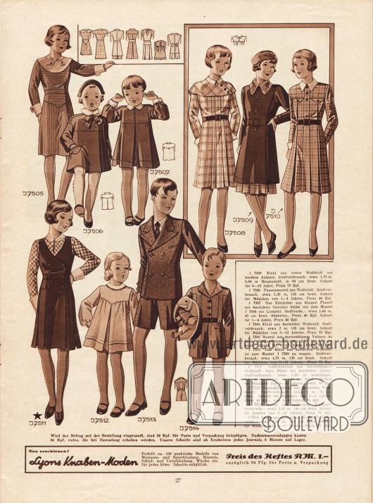 Kleidung vorrangig für Mädchen im Alter von einem bis 12 Jahre.7505: Kleid aus rotem Wollstoff (Mädchen 6 bis 10 Jahre).7506: Passenmantel aus Wollstoff (1 bis 4 Jahre).7507: Kleidchen aus blauem Flanell und bestickter Garnitur. Bildet mit 7506 ein Complet.7508: Kleid aus kariertem Wollstoff (8 bis 12 Jahre).7509: Mantel aus marineblauem Velours de Laine (8 bis 12 Jahre).7510: Kleid aus kariertem Wollstoff. Bildet mit 7509 ein Ensemble.7511: Leibchenrock aus marineblauem Wollstoff und einer Bluse aus kariertem Jersey (6 bis 10 Jahre).7512: Passenkleidchen aus kariertem Wollflanell (2 bis 4 Jahre).7513: Anzug aus meliertem Wollstoff (Knaben, 8 bis 12 Jahre).7514: Anzug aus gestreiftem Wollstoff (4 bis 8 Jahre).