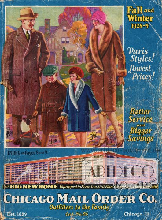Titelseite bzw. Cover des Herbst/Winter Versandhauskatalogs Nr. 96 der Firma Chicago Mail Order Company aus Chicago, Illinois, USA von 1928-29.