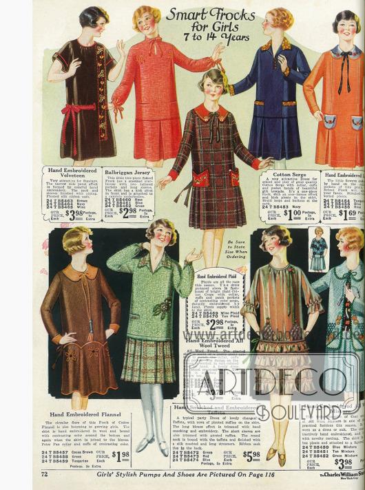 Einfache Kleidchen für Mädchen von 7 bis 14 Jahren. Baumwollsamt, Jersey, Baumwollkrepp, Serge, Leinen, Flanell, Tweed, Taft und ein Baumwollmischstoff finden für die Kleidchen Verwendung.