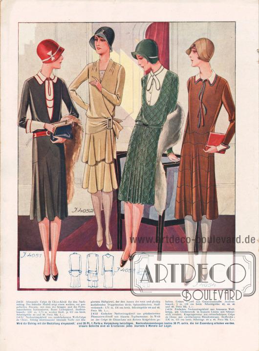 4051: Schwarzes Crêpe de Chine-Kleid für den Nachmittag. Das hübsche Modell zeigt einen weißen, rot paspelierten Einsatz, mit dem der Kragen und die Fechtmanschetten harmonieren. Roter Ledergürtel. 4052: Nachmittagskleid aus modefarbenem Woll-Crêpe de Chine. Schräg übereinander tretende Taille mit drapiertem Hüftgürtel, der den Ansatz des weit und glockig ausfallenden Doppelrockes deckt. Spitzenlätzchen. 4053: Einfaches Nachmittagskleid aus grünkariertem Phantasiewollstoff mit blauem Tupfenmuster. In Weiß ist der Crêpe de Chine-Latz mit flottem Krägelchen gehalten. Grüner Gürtel mit Galalithschnalle. 4054: Einfaches Nachmittagskleid aus braunem Wollkrepp, am Glockenrock in bogigen Linien mit Schnurstich verziert. Kragengarnitur aus crêmefarbigem Crêpe de Chine mit zweifarbigem Blendenbesatz.