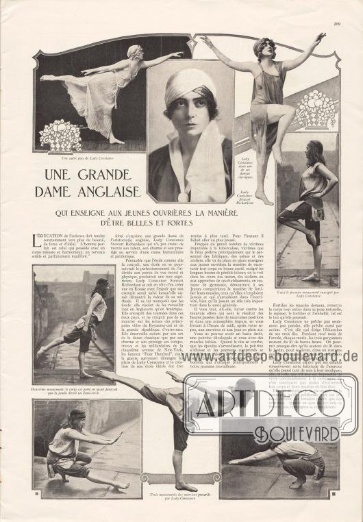 Artikel:O. V., Une grande Dame anglaise qui enseigne aux jeunes ouvrières la manière d'être belles et fortes (Constance Stewart Richardson, 1883-1932).Fotos: unbekannt.