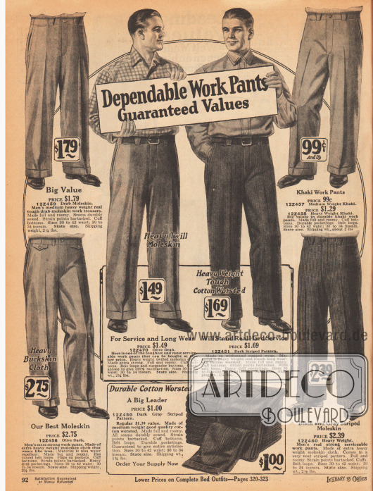 """""""Belastbare Arbeitshosen – Wert garantiert"""" (engl. """"Dependable Work Pants – Guaranteed Values"""").Arbeitshosen mit Bügelfalte für Männer. Die Hosen sind aus mittelschwerem und schwerem """"Moleskin"""" (Englischleder), gekämmter Baumwolle und Khakigewebe. Die Stoffe sind unifarben, diagonal verarbeitet oder gestreift."""