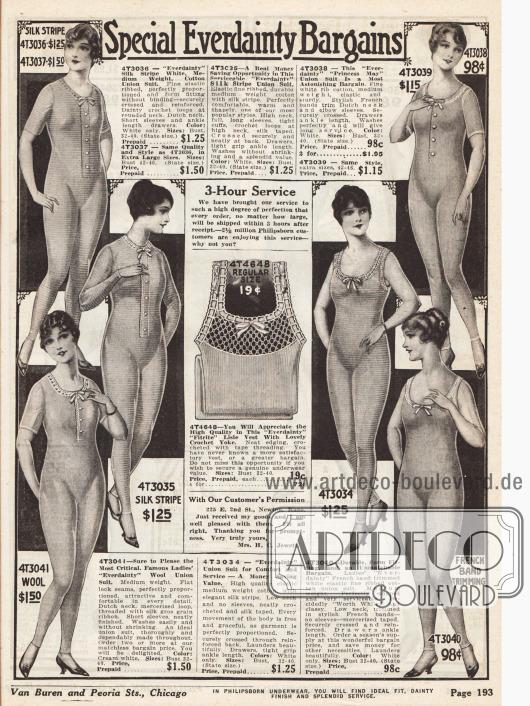Hemdhosen für Damen mit langen, mittellangen und ohne Ärmel aus Seiden-, Woll- und Baumwollstoffen. Manche Hemdhosen besitzen eine Knopfleiste in der Front und alle eine kleine Schleife an der Brust.
