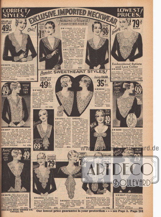 Verschiedenartigste Spitzengarnierungen für das selbstgeschneiderte Kleid.