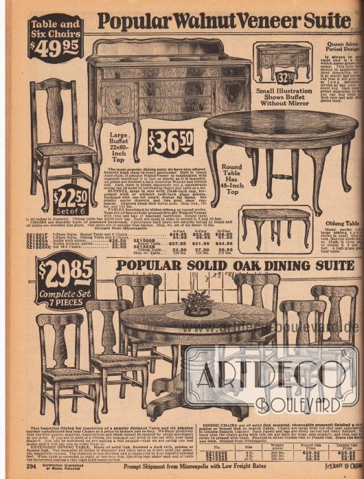 """Esszimmermöbel aus amerikanischem Walnussbaumholz (oben) im Queen Anne Stil (engl. """"Queen Anne Period Design"""") oder Eichenholz.Die obere Esszimmergarnitur kann wahlweise mit einem runden oder länglichen Esszimmertisch, einem Buffet mit schmalen Spiegel oder einer Kommode (""""sideboard"""") und mit sechs gepolsterten Stühlen erworben werden.Der untere ausziehbare Esszimmertisch besitzt einen massiven Stand. Zum Tischen werden sechs gepolsterte Stühle geliefert."""