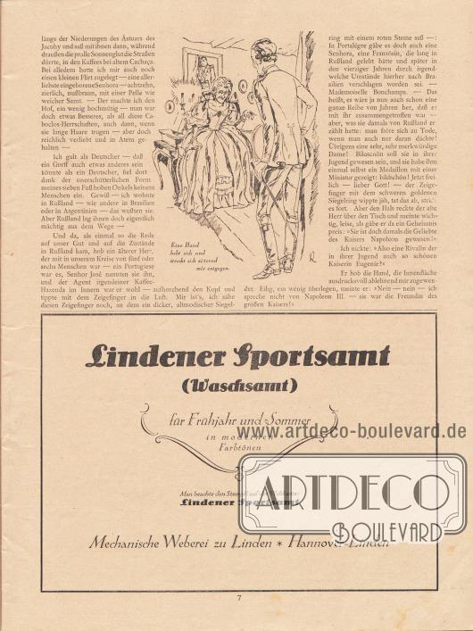 """Artikel (Novelle): Rosner, Karl (1873-1951), Das Gespenst der Liebe. Die Novelle ist durch eine Zeichnung ergänzt mit der Bildunterschrift """"Eine Hand hebt sich und streckt sich zitternd mir entgegen."""" Zeichnung/Illustration: """"k"""" (Kretschmann). Werbung: Lindener Sportsamt (Waschsamt), Mechanische Weberei zu Linden, Hannover-Linden."""