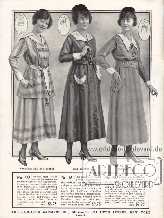 Günstige Damenkleider aus Waschseide und Baumwolle, Seiden-Taft sowie Seiden-Popeline. Das linke Modell ist ein Sportkleid und besteht aus einer Jacke und einem Rock gleichen Materials. Das Oberteil zeigt einen breiten Matrosenkragen und einen Stoffgürtel dessen Enden mit neuartigen kugelförmigen Knöpfen beschwert sind. Das folgende Kleid besitzt eine Kragen-, Ärmel- und Taschengarnitur aus grauem Taft. Das besondere Merkmal des rechten Modells ist der von Hand bestickte Taillengürtel sowie die Seidenkordeln im Brust- und Nackenbereich.