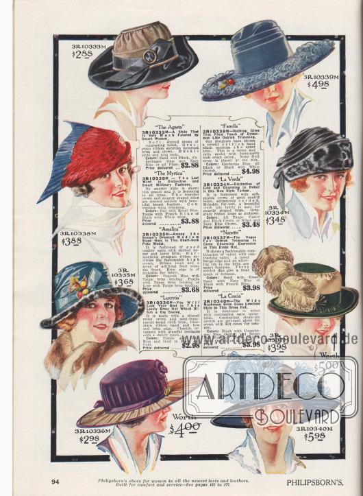 """Acht äußerst kleidsame Hüte für modebewusste Damen. Die Hüte sind aus kontrastierendem Samt, Samt und Satin, vollständig aus Brustfedern hergestellt (3R10338) oder gekräuseltem Samt mit halbtransparenten, feinen Metallfäden. Als Aufputz der Damenhüte dienen Ripsbänder in verschiedenen Breiten teilweise mit Metallschließen, Bänder aus Straußenfedern, künstliche Früchte und Beeren, Ripsbandschleifen, Ornamente aus Chenille, nachempfundene Vogelflügel oder auch opulente Straußenfeder-Schmuckelemente und Federflanken. Zwei Hüte sind berandet mit künstlichen Pelzrollen oder Pelzblenden, die Maulwurfsfell nachahmen (engl. """"Moleskin fur-text"""" oder """"fur-fabric""""). Unter den Modellen sind ein Turban (3R10334M) sowie ein Hut im Schuten-Stil (3R10335M). Viele Modelle mit breiter Krempe."""