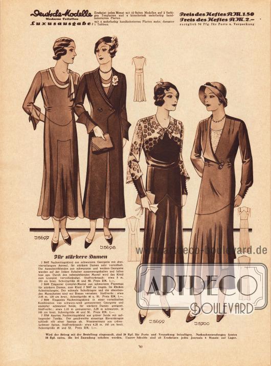 5697: Nachmittagskleid aus schwarzem Georgette mit dreiviertellangem Ärmel, für stärkere Damen sehr vorteilhaft. Die Ausschnittblenden aus schwarzem und weißem Georgette werden auf der linken Schulter zusammengehalten und fallen lose aus. Durch den nebenstehenden Mantel wird das Kleid zum Complet vervollständigt.5698: Eleganter Complet-Mantel aus schwarzem Flamenga für stärkere Damen, zum Kleid 5697 zu tragen. Im Rücken Schnitteilungen. Der schmale Schalkragen und die abstehenden Manschetten sind mit Biesen versehen.5699: Elegantes Nachmittagskleid in einer vorteilhaften Kombination von schwarz-weiß gemustertem Georgette und stumpfer schwarzer Seide, für stärkere Damen geeignet.5700: Apartes Nachmittagskleid aus grüner Seide mit aufliegender Tunika. Der geschweifte einseitige Reverskragen schließt mit einer Spange ab. Westeneinsatz aus crêmefarbener Spitze.