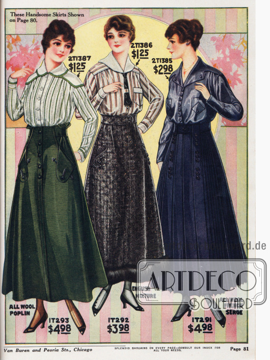 Damenblusen aus gestreiftem Madras (Baumwollstoff) und Chiffon-Taft. Große capeartige, weit überlappende Kragenformen bringt die Mode 1916 hervor. Zwei Modelle zeigen Brusttaschen. Die fein gearbeiteten Röcke mit passend eingearbeiteten Gürtelbändern sind aus Woll-Poplin, englischem Baumwollstoff mit Saumbesatz aus Kaninchenpelz und französischem Serge (Wolle) geschneidert. Seitlich eingearbeitete Taschen (erste zwei Modelle), Zierknöpfe sowie großzügig eingearbeitete Falten (letztes Modell) geben den Kundinnen verschiedene Auswahlmöglichkeiten.