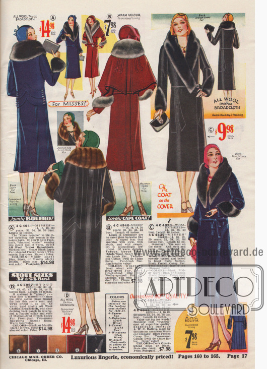 Doppelseite mit einer Auswahl verschiedener Damenmäntel. Bei Wintermänteln dürfen Pelz an Kragen und Ärmeln nicht fehlen. In der Mitte unten befinden sich die aktuellen Mantelfarben der Saison.