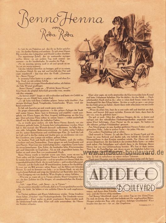 Artikel:Roda Roda, Benno Henna.Zeichnung: Heinz Raebiger (1903-ca.1955).