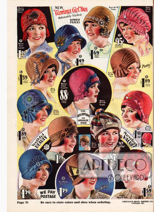 Höchst unterschiedlich gearbeitete und aufgemachte Hüte für Mädchen von 3 bis 14 Jahren. Die Hüte, Kappen und Baretts sind aus Wollfilz oder auch Samt (P). Aufwendige Stickereien, schmale Ripsbänder und kleine Applikationen geben jedem Modell eine individuelle Note.