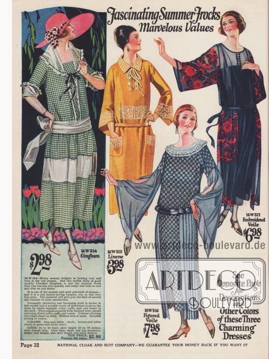 """""""Faszinierende Sommerkleider"""" aus Gingham, Leinen, Schleierstoff (Baumwolle) und besticktem Schleierstoff.Zeigen die Sommerkleider keine kurzen Ärmel, dann sind die Ärmel sehr weit geschnitten."""