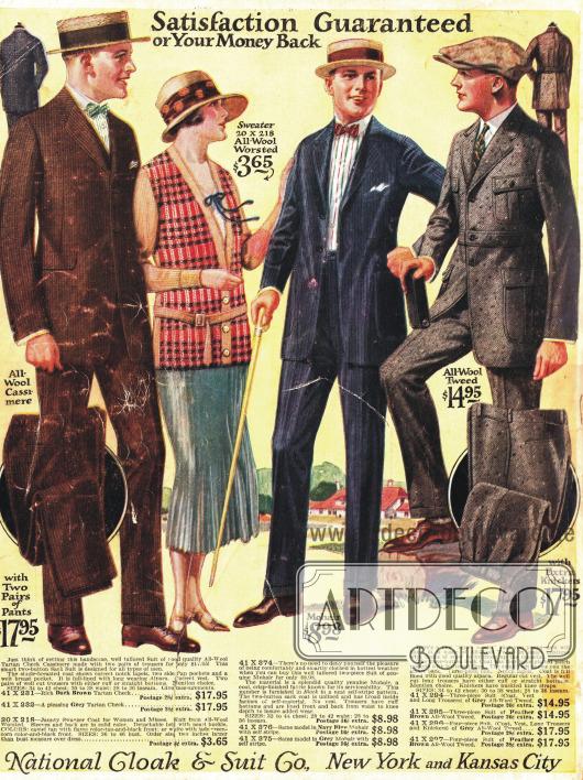 Herrenanzüge und ein Sportensemble für die Dame bestehend aus einer Strickjacke (Cardigan) und einem plissierten Sportrock.