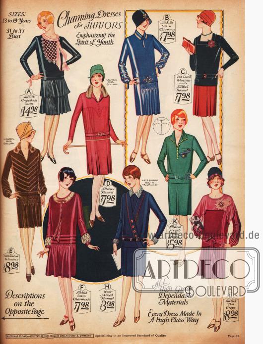 """""""Entzückende Kleider"""" für Mädchen von 13 bis 19 Jahren im Stil der Großen aus Seiden-Krepp, Seiden-Satin-Charmeuse, Woll-Flanel, Samt und Woll-Jersey."""